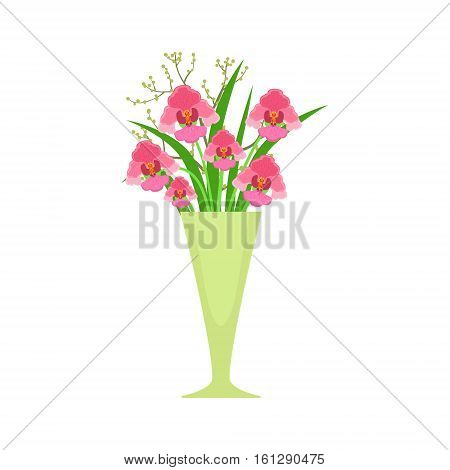 Orchids Flower Bouquet In Tall Flower Vase, Flower Shop Decorative Plants Assortment Item Cartoon Vector Illustration. Natural Floral Composition From Florist Store Isolated Item.