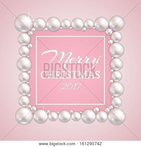 Christmas pearl frame. Vector fashion pearls border for wedding, anniversary or invitation. Banner with frame from pearls for design illustration