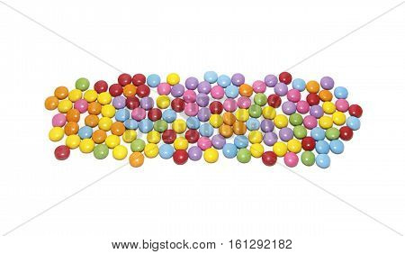 Multicolored sweets candy pattern isolated on white background