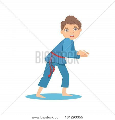 Boy In Blue Kimono In Sparring Fight On Karate Martial Art Sports Training Cute Smiling Cartoon Character. Part Of Kids Fighters In Traditional Asian Karate Outfit Collection Of Vector Illustrations