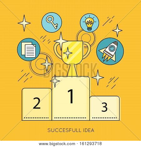 Successful idea vector banner. Flat design. Set of creative mind icons and symbols such as bulb, rocket, key, pedestal, cup. Brain storm, scientist, business planning and creativity illustrating.