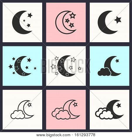 Moon star vector icons set. Illustration isolated for graphic and web design.