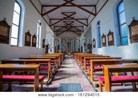 Sighisoara Romania - July 4 2016: Interior of Saint Joseph's Roman Catholic Church in Sighisoara town