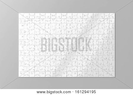 Blank white puzzles game mockup 3d rendering. Clear jigsaw pieces connected together design mock up. Big board toy template. Space plastic surface for picture presentation isolated grey background