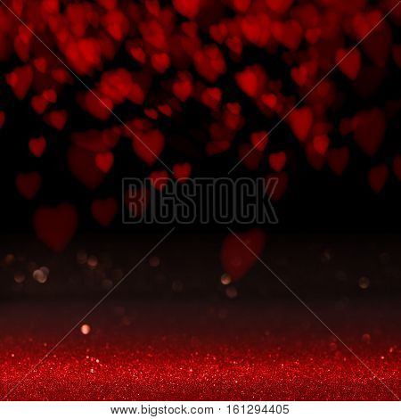 Dark background with red love heart for valentines day