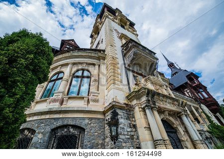 Sinaia Romania - July 5 2016: Peles Castle near Sinaia city