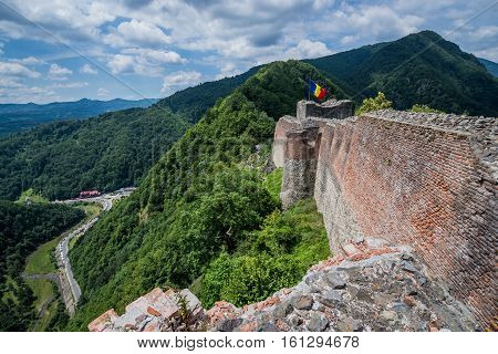 Mount Cetatea Romania - July 6 2016: Ruined Poenari Castle on Mount Cetatea