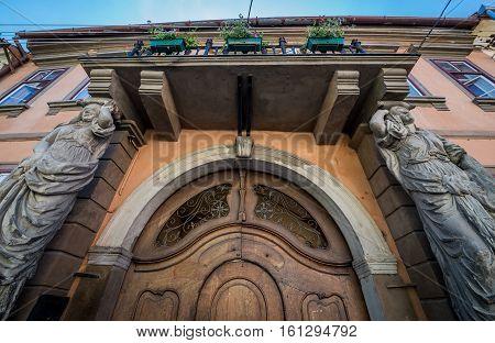 Sibiu Romania - July 7 2016: House with Caryatids statues in Sibiu city