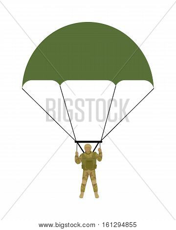 Military parachutists vector. Paratrooper descending by parachute flat illustration isolated on white background. Airborne forces soldier. For military concepts, infographics, icons design