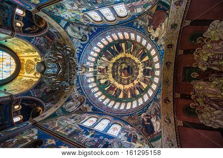 Sibiu Romania - July 7 2016: Dome of Orthodox Holy Trinity Cathedral in Sibiu city