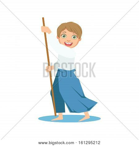 Boy With The Stick In Wide Trousers On Karate Martial Art Sports Training Cute Smiling Cartoon Character. Part Of Kids Fighters In Traditional Asian Karate Outfit Collection Of Vector Illustrations