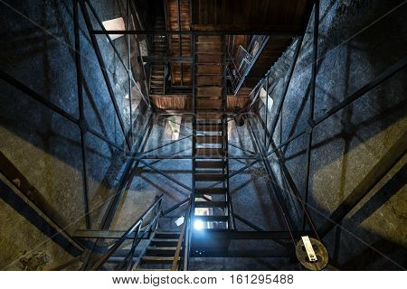 Sibiu Romania - July 7 2016: Inside the bell tower of Saint Mary Lutheran Cathedral in Sibiu city