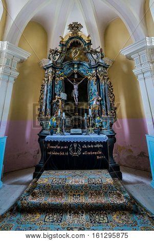 Sibiului Romania - July 7 2016: Aisle altar of Romanesque Saxon fortified church in Miercurea Sibiului town