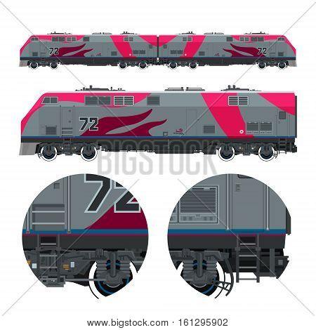 Locomotive , Rail Transport Vehicle, Train, Rail Transportation , Vector Illustration