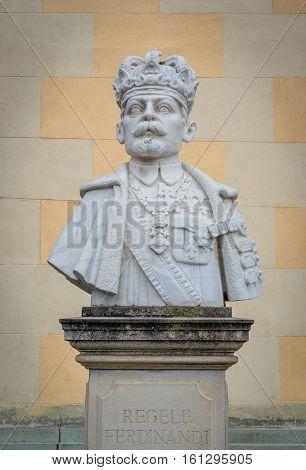 Alba Iulia Romania - July 7 2016: Ferdinand I of Romania bust in Citadel of Alba Iulia city