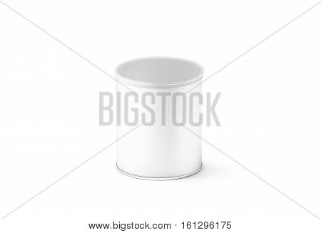 Blank white small carton cylinder box mockup isolated 3d rendering. Clear cylindrical tube container transparent plastic lid mock up. Chips and crisp cardboard packaging template. Tin round canister