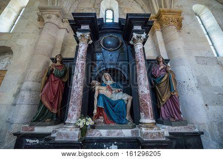 Alba Iulia Romania - July 7 2016: pieta in St. Michael's Cathedral in Citadel of Alba Iulia city