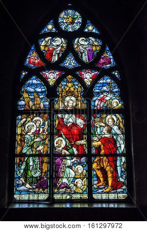 Cluj-Napoca Romania - July 8 2016: stained glass window in St. Michael's Church in Cluj-Napoca city