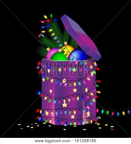 black background and the large bpurple gift box with decorative balls, branch of tree inside, colored light garland