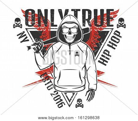 Set of rap skull and hip hop skeleton black and white style