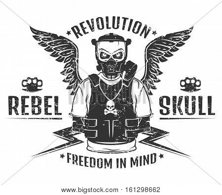 Set of rebel skull and revolution skeleton black and white