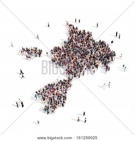 Large and creative group of people gathered together in the form of a map Sark. 3D illustration