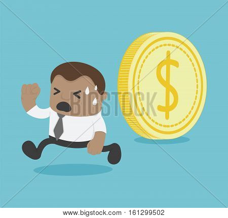 Coin is rolling can crushed him African Businessman running Money