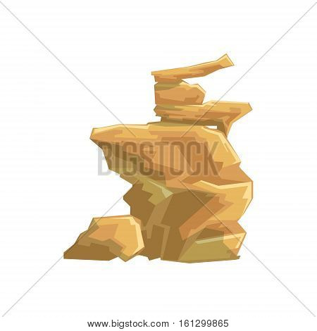 Yellow Desert Sandstone Natural Landscape Design Element, Part Of Scenery In Nature Landscaping Constructor. Detailed Cartoon Vector Objects For Land Surface Constructing.