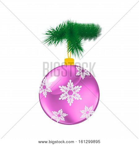 Purple Christmas glass ball with pine. Vector illustration of glass decorative object on white.