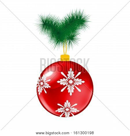 Red Christmas glass ball with pine. Vector illustration of glass decorative object on white.