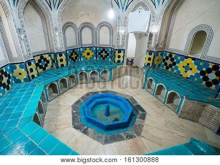 Kashan Iran - October 17 2016: Cloakroom of Sultan Amir Ahmad Historical Bath in Kashan city