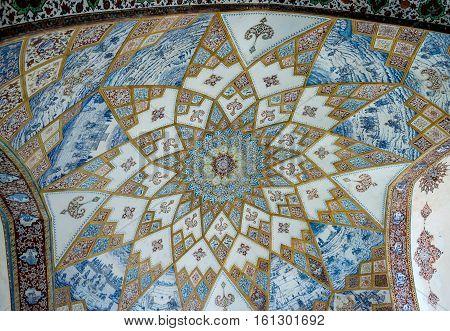 Kashan Iran - October 18 2016: Tiled ceiling of pavilion in Historical Fin Garden in Kashan city