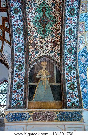 Kashan Iran - October 18 2016: Details of pavilion in Historical Fin Garden in Kashan city