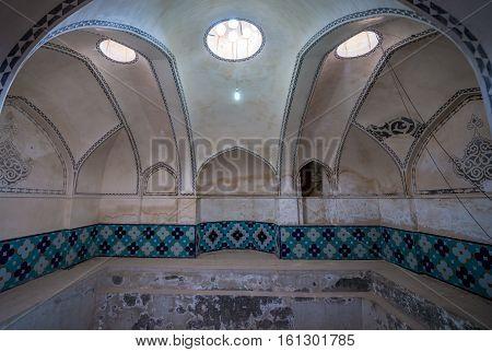 Kashan Iran - October 18 2016: Bath house in Historical Fin Garden in Kashan city
