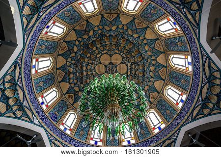 Aran va Bidgol Iran - October 18 2016: Dome of Shrine of Hilal ibn Ali in Aran va Bidgol city Iran