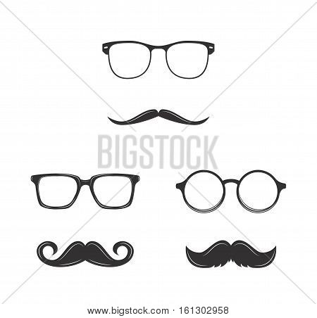 Glasses with a mustache, Vector illustration isolated On White Background