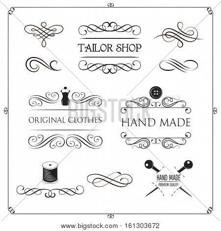 Set of vintage monochrome tailor tools and emblems. Designer toolkit. Perfect for logo, label, emblems and other signs. Vector Illustration