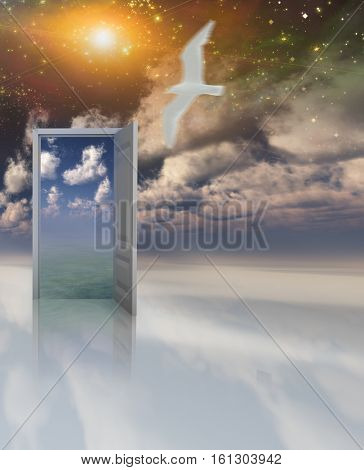 Doorway in serene space opens into other realm  3D Render  Some elements provided courtesy of NASA