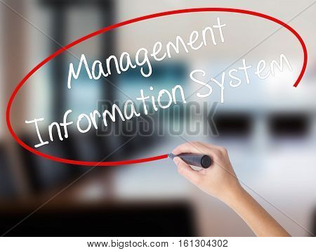 Woman Hand Writing Management Information System With A Marker Over Transparent Board.