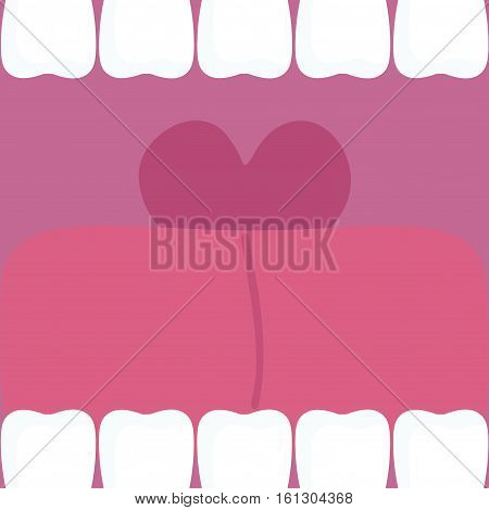 Open mouth with tongue and teeth. A loud cry. Vector illustration.