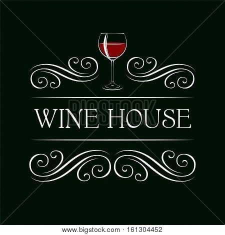 Red Wine Glass Vector Illustration. Filigree swirl decoration. Restaurant menu