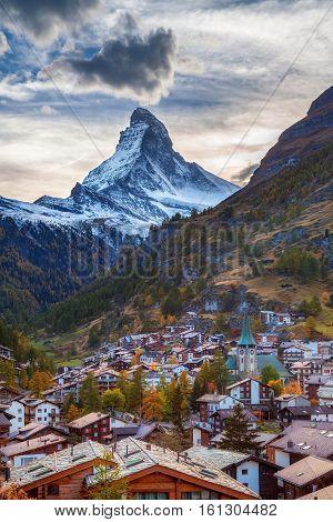 Zermatt and Matterhorn. Image of famous alpine village Zermatt located in Swiss Alps.