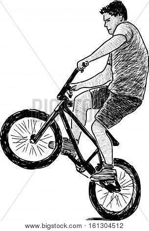 Vector sketch of an active young cyclist.
