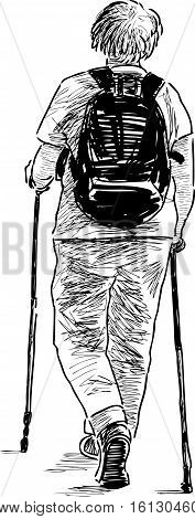 Vector drawing of an elderly woman walking with the norwegian sticks.