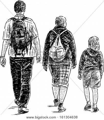Vector drawing of an young family on a walk.