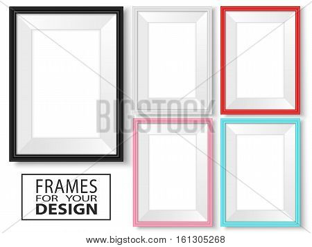 Frames set. Templates for your design. Realistic mock up vector collection. Isolated colorful photo framing for drawing painting business presentations quotes or photos.