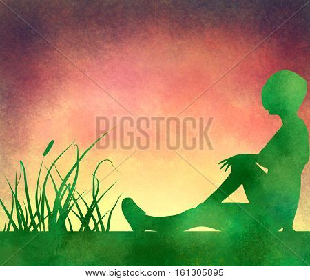 Sporty woman sits on a ground. Short hair girl silhouette . Double exposure brush painting. Green grass and vibrant sunset. Evening time. Outdoor relax