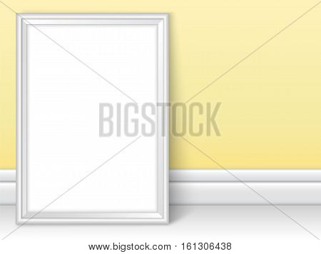 Photoframe template near yellow wall. Realistic mockup vector. Cute color of framing great for drawing painting or photo. White picture template for children room or school theme design.