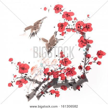 Chinese painting of flowers, plum blossom and bird, on white background.