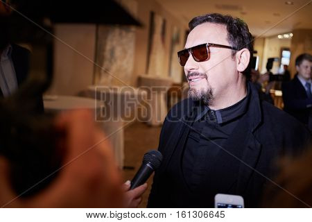 MOSCOW, RUSSIA - JUN 06, 2016: Singer Stas Mikhailov gives interview at the ceremony of awarding Fashion People Awards in hotel DoubleTree by Hilton Moscow - Marina.